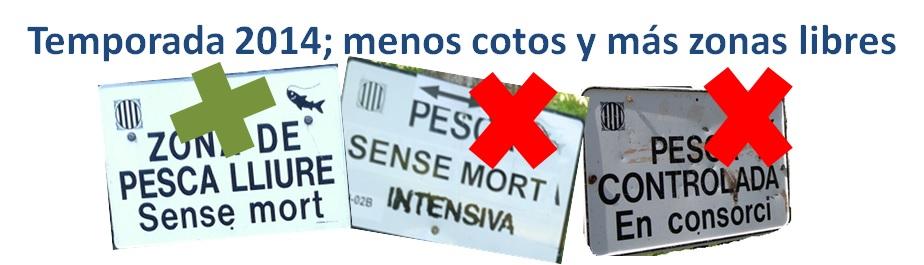 Cotos eliminados y nuevas zonas libres de pesca sin muerte (Cataluña2014)